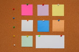 Bulletin board. Color pins with color papers poster