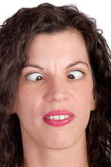 woman making squinting grimace on white background