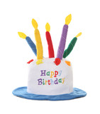 A colorful happy birthday hat over a white background poster