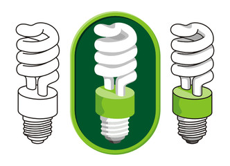 spiral compact fluorescent light bulb icon