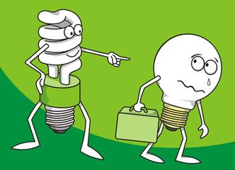 Ιncandescent light bulb persecuted by a fluorescent one