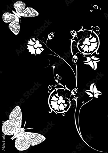 white decoration with butterflies