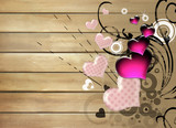 artistic background with hearts over wooden planks poster