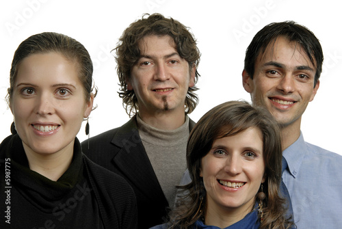 Portrait of four young friends isolated on white