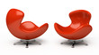 Leather red armchair (right and left view)