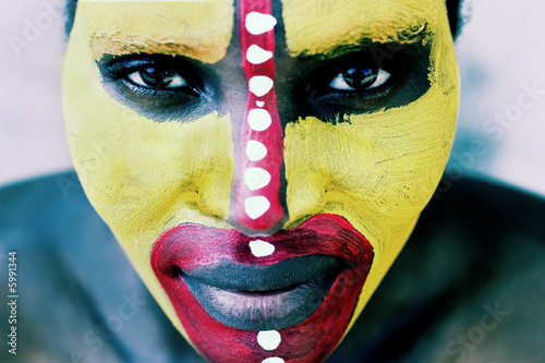 Young African woman painted traditional, lomography  look