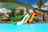 Water park in tropical resort poster