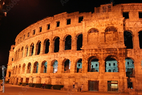 roman arena at night widh