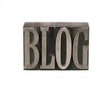 blog in metal letterpress type