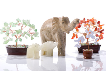 Elephant stattuettes and stone bonsai