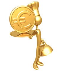 Golden Chef Serving A Euro Coin