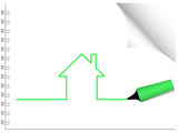 House being drawn with a highlighter pen. poster