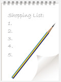 Shopping list note pad or note book with page curl poster
