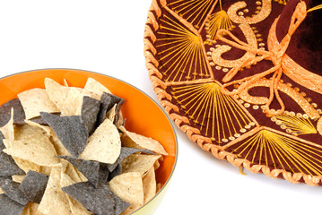 Bowl of Tortilla Chips and a Sombrero