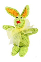 Hand made tiny green knitted easter bunny with gold bow