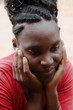 Young African woman casual dressed, dreadlocks
