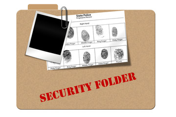 Mock up of a state police finger print record