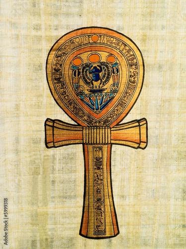 Leinwanddruck Bild Ankh, egyptian papyrus