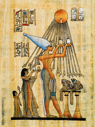 Leinwanddruck Bild Egyptian papyrus, Ra offering