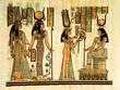 Leinwanddruck Bild Egyptian papyrus, Pharaon offering