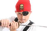 Child play acting a Pirate, wearing eye patch, wielding  sword  poster