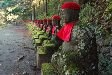 row of Japanese Jizo in Nikko, Japan