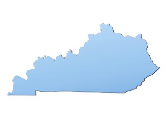 Kentucky(USA) map filled with light blue gradient