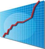 Linechart going up, isometric 3d vector illustration poster