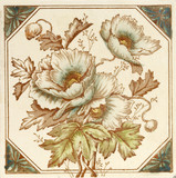 Victorian period aesthetic design poppy flower  tile poster