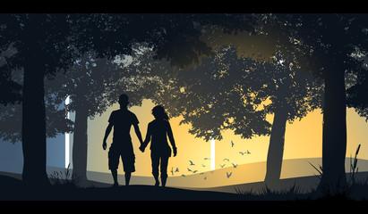 A loving couple walking