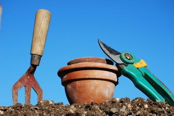 Plant Pots, Fork and Secateurs