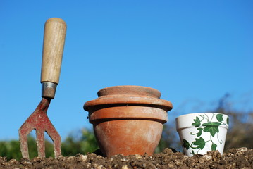 Plant Pots and Fork
