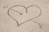 Heart drawn on sand for the  day of  St. valentine poster