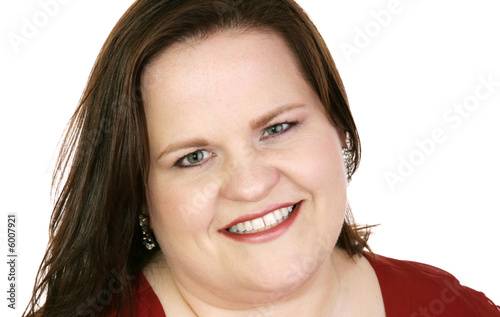 Closeup portrait of a beautiful plus-sized model.