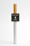 Imitation danger signboard, on smoking concept poster