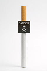 Imitation danger signboard, on smoking concept