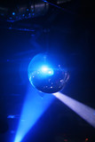 Blue shining discoball / mirrorball in motion poster