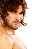 fashion man portrait wearing a wig isolated  poster