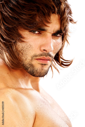 fashion man portrait wearing a wig isolated
