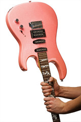 pink electric guitar in hads