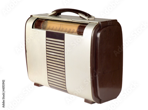 Retro portable radio isolated on white