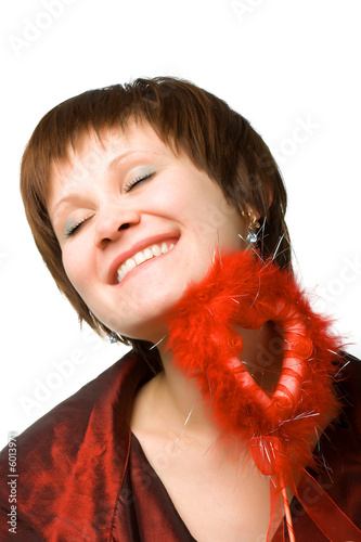 poster of happy woman holding fluffy heart