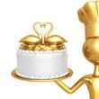 Golden Baker Serving Wedding Cake With Swans In A Heart Shape