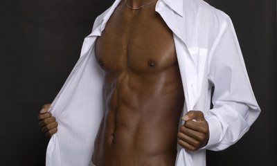 African American model posing for a fashion shot