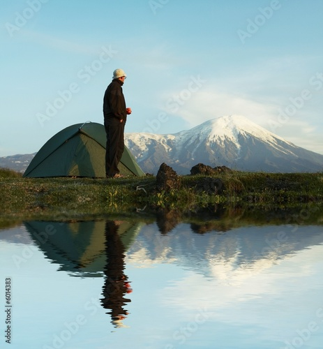 Male in hiking on Kamchatka