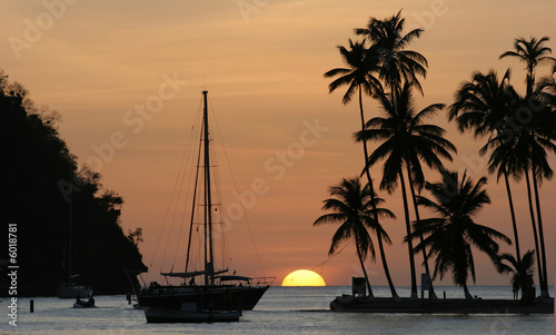 Fotobehang Centraal-Amerika Landen Sunset in Marigot Bay, St Lucia