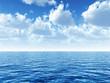 Leinwanddruck Bild - cloudy blue sky above a blue surface of the sea