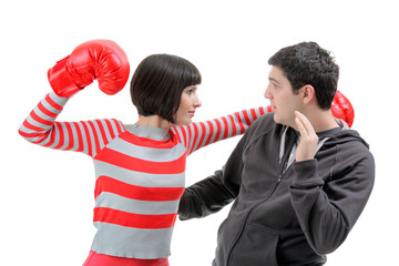 Fight between girlfriend and boyfriend