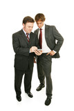 Older professional mentoring young businessman.  Full body poster
