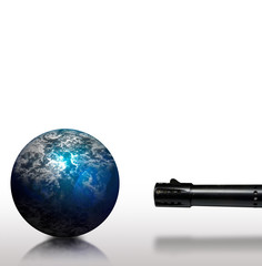 Planet threatend with a weapon pointed at it